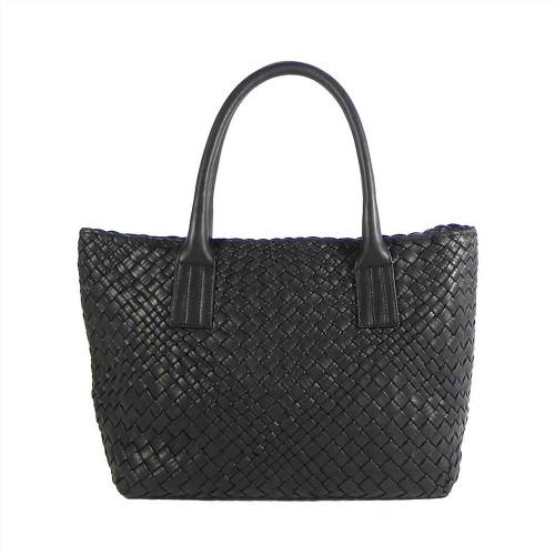 Ghibli Luxury Hand Woven Italian Leather Medium Shopper - Black