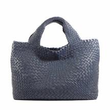 Ghibli Woven Leather Grab Bag - Blue