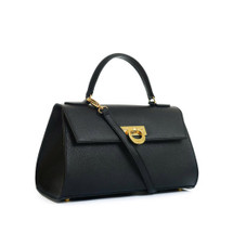 Carbotti Designer Bellino Palmellato Leather Baguette Grab Handbag - Black