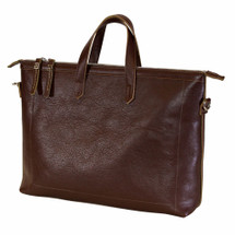 Terrida Italian Leather Slim Laptop Business Bag - Brown