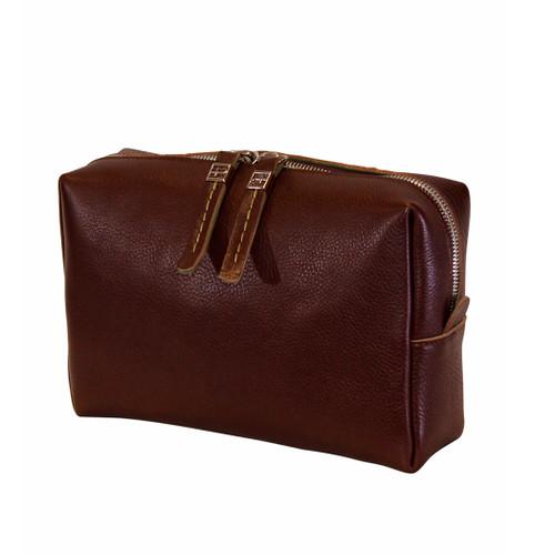 Terrida Italian Leather Toiletry Wash Bag - Dark Brown