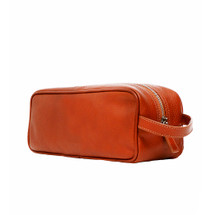 Terrida Venice Italian Leather Toiletry Wash Bag - Brown