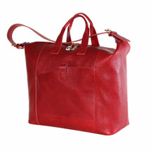 Terrida Veneto Italian Leather Travel Tote Bag - Red