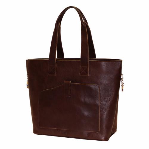 Terrida Veneto Italian Leather Shopper Tote Bag - Dark Brown