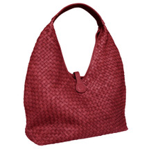 Paolo Masi Cara Woven Washed Italian Large Leather Hobo Bucket Bag - Red