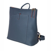 Terrida Vincenza Italian Leather Slim Backpack - Blue