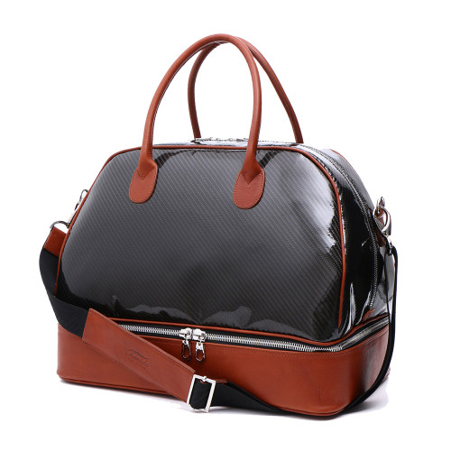 Terrida Carbon Italian Leather Zip Base Travel Bag - Tan