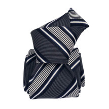 Segni & Disegni Italian handmade Classic Stripe Silk Tie - Navy