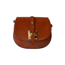Pratesi Italian Radica Leather Cross Body Satchel Shoulder Bag - Brown