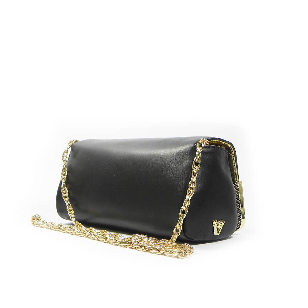 71ec3379cc6 Ghibli Designer Leather Chain Clutch Evening Bag - Black - Attavanti
