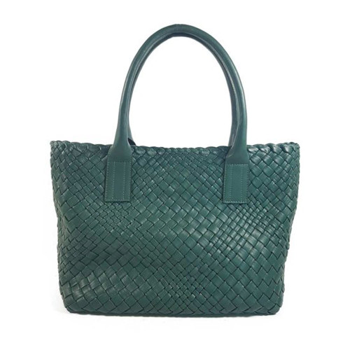 Ghibli Woven Leather Medium Shopper - Green