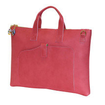 Terrida Veneto Italian Leather Slim Laptop Bag - Pink