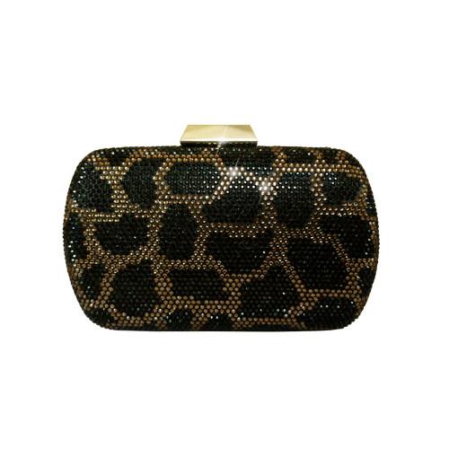 Anna Cecere Italian Designed Jewel Leopard Clutch Evening Bag - Brown
