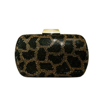 Anna Cecere Italian Designed Jewel Leopard Clutch Evening Bag - Brown