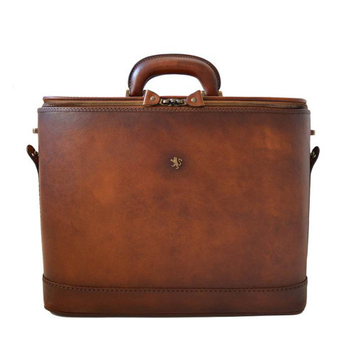 Pratesi Raffaello Italian Aged Leather Laptop Briefcase - Brown