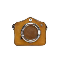 Pratesi Camera Aged Leather Small Cross-Body Handbag - Tan