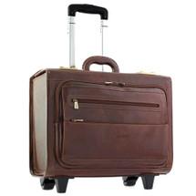 Chiarugi Italian Leather Pilot Briefcase - Brown