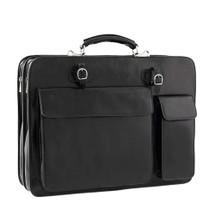 Chiarugi Top Zip Italian Leather Briefcase - Black