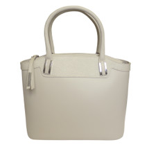 Nicoli 'Eleganza' Designer Italian Leather Tote - Cream