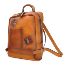 Pratesi Firenze Italian Leather Laptop Backpack - Tan