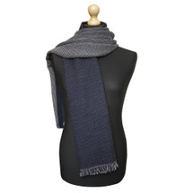 Maalbi Luxury Italian Virgin Wool Double Sided Scarf - Navy Cream