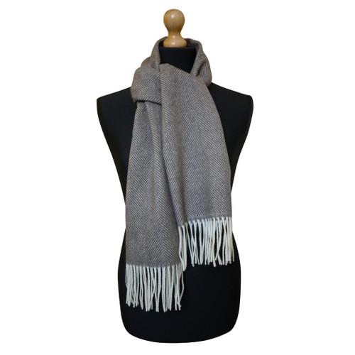 Maalbi Luxury Italian Virgin Wool Herringbone Scarf - Brown