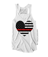 American Heart Flag Thin Red Line Top