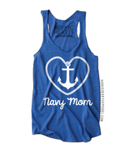Heart Rope Anchor Navy Mom Top