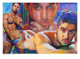 """Shop for """"Diego Sans"""" a limited edition print by San Francisco artist Donald Rizzo. Donald Rizzo paints kaleidoscopic visions of vibrant colors."""