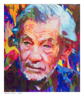"Shop for a Portrait of Sir Ian McKellen  in ""Stonewall"" a limited edition print by San Francisco gay artist Donald Rizzo. Abstract verism in kaleidoscopic visions of vibrant colors."