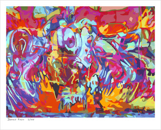 "Shop for ""taking flight"" a limited edition print by San Francisco gay artist Donald Rizzo. Abstract verism in kaleidoscopic visions of vibrant colors."