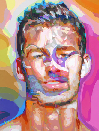 """Gay Male Art paintings """"Embracing Desire"""" by San Francisco artist Donald Rizzo. Rizzo paints optical illusions in a style call Ambiguous Delusions."""
