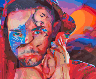 """Gay Male Art paintings """"Turk Mason"""" by San Francisco artist Donald Rizzo. Donald Rizzo paints optical illusions in a style call Ambiguous Delusions."""