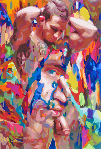 """Gay Male Art paintings """"Gut feeling"""" by San Francisco artist Donald Rizzo. Donald Rizzo paints optical illusions in a style call Ambiguous Delusions."""