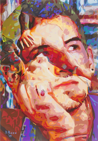 """Gay Male Art paintings """"Spic & Span"""" by San Francisco artist Donald Rizzo. Donald Rizzo paints optical illusions in a style call Ambiguous Delusions."""