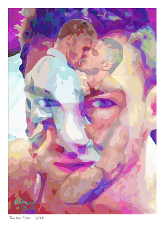Shop for Gay Male Art Lunch time Special Print a limited edition print by San Francisco artist Donald Rizzo. Donald Rizzo paints optical illusions in a style call Ambiguous Delusions.