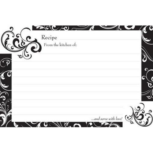 Brownlow Gifts Recipe Cards 4 x 6 - Black & White