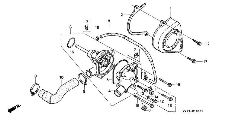 Genuine Honda Cbr600f 1992 Water Pump Complete Part 3 19200mv9671