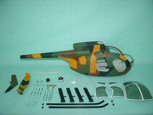 FUNKEY Scale fuselage Hughes 500D .50 (600) size Camouflage Color with Landing Skid