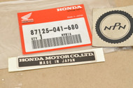 NOS Honda ATC70 CA175 CB160 CB175 CL125 CL160 CL175 MR175 P50 QA50 XL70 XL100 XL350 XR75 Z50 Name Plate Decal Sticker 87125-041-680