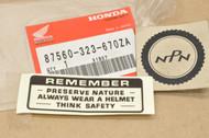 NOS Honda ATC90 CB175 CB350 CB450 CB750 CL175 CL450 CT70 CT90 SL125 SL350 SL70 XL70 XR75 XR80 Z50 Caution Label Decal Sticker 87560-323-670