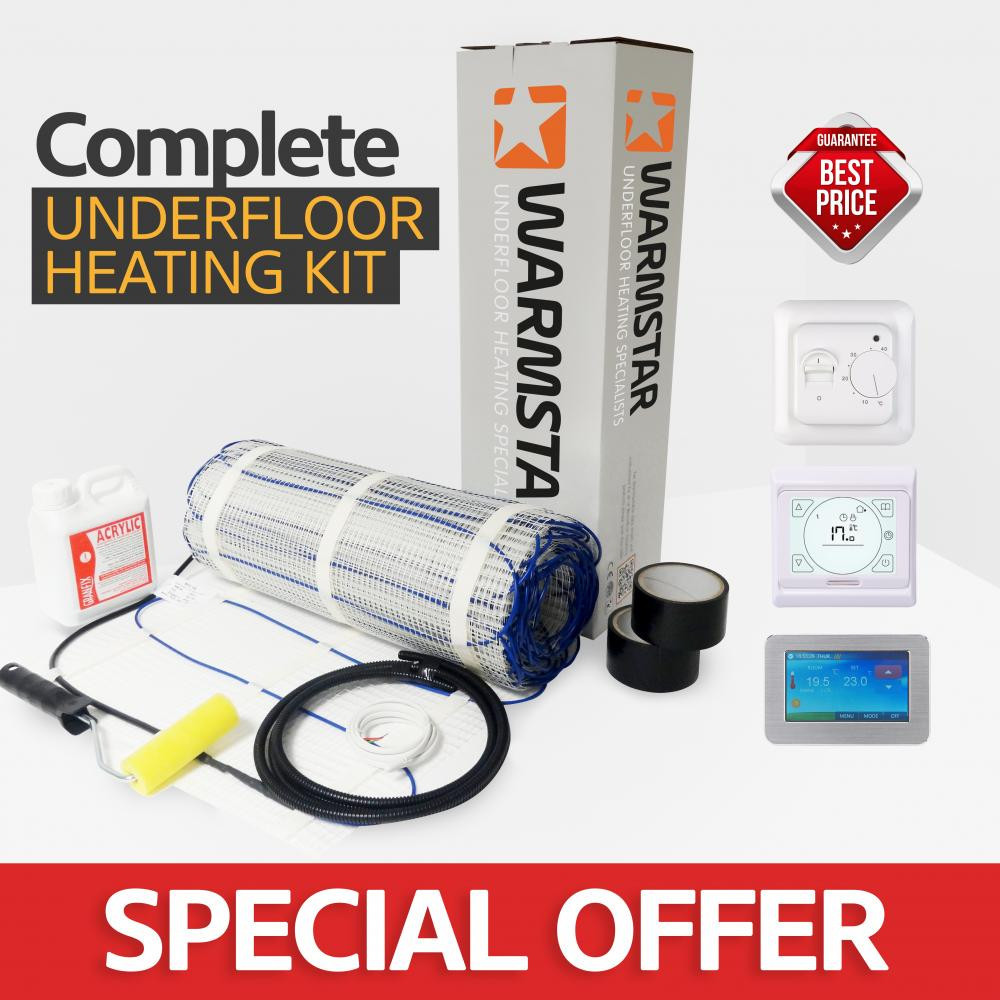 Electric Underfloor Heating Mat Kit 200w Per M2 70m2 Org Warmstar Click On Image To View Full Size