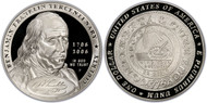 2006 Ben Franklin Founding Father Silver Dollar PR70