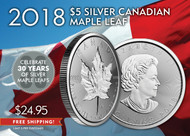 2018 $5 Canadian Sliver Maple Leaf