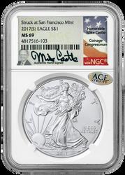2017-S Silver Eagle MS69, 2018 Silver Eagle BU