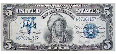 $5 Indian Head Certificate collectors note