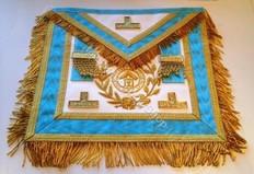 Gold Trim PM Apron  with  Fringe, Wreathing & Lodge Badge