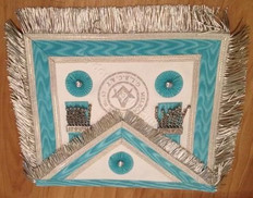 Silver  Apron  with Fringe  Lodge Badge and  Sq & C