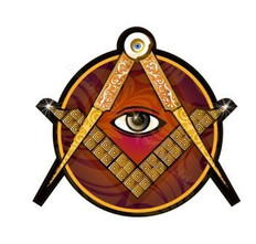 2.5 Inch Dia Decal  3mm Laminated  Square & Compass with All Seeing Eye