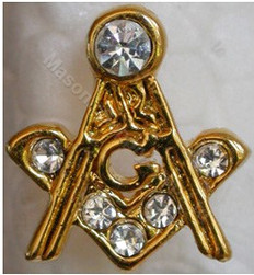 Masonic square and Compass Lapel pin with stones